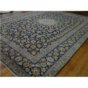 910 x 136 Navy Blue Persian Hand Knotted Wool Kashan Rug