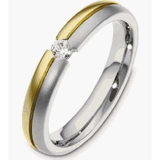 18 Karat Two Tone Gold Diamond Band, 0.13 TCW   10.5