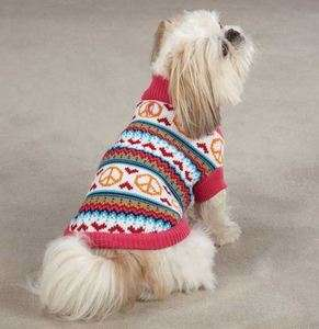 Peace Lovin Sweater Pet Dog Knit Top Shirt XXS L Pink Turtleneck