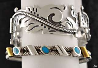 Mexican Sterling Silver Bracelets Turquoise Cuff Mixed Metal