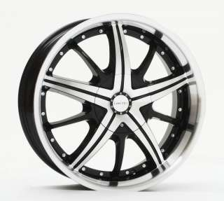 22 LIMITED 097 BLACK Wheels MACHINED FACE + LIP Rims+Tires PACKAGE