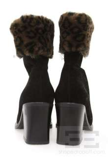 La Canadienne Black Suede & Leopard Print Faux Fur Trim Ankle Boots