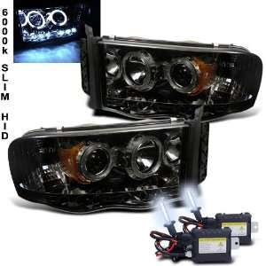 6000k Slim Xenon HID Kit+ 02 05 Dodge Ram Halo LED Smoke