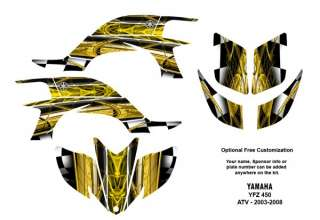 YAMAHA YFZ450 Atv Graphic Decal Sticker Kit #2001Yellow with Racing