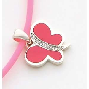 Pink Enameled Butterfly Charm, Sterling Silver Jewelry