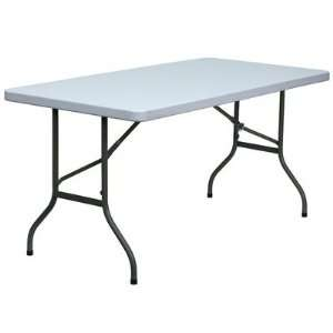 30 W Blow Molded Plastic Folding Table in Granite White