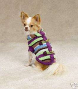 Striped Toggle Hoodie Dog Sweater Clothes Warm Winter