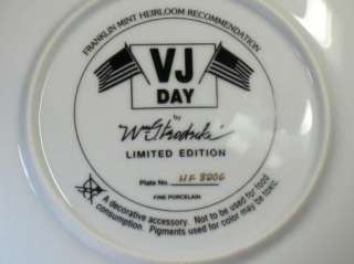 FRANKLIN MINT VJ DAY COLLECTORS PLATE Wm TEODECKI #HF8206