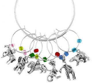 Wild Animals Zebra Giraffe Lion Bear WINE GLASS CHARMS