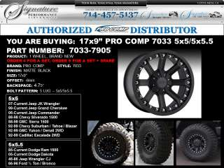 17 Pro Comp 7033 Black Wheels 5x5   07 12 Jeep Wrangler JK GUARANTEED