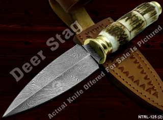 Superb A Entirely Hand MadeTwisted Damascus Knife Real Deer Stag