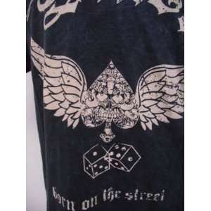 CHRISTIAN AUDIGIER SMET REBORN WINGED DICE MENS S/S TEE SZ M BLUE ACID