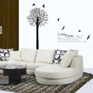 Love Poem Tree Bird Decor Mural Art Wall Sticker Decal Y337 (various
