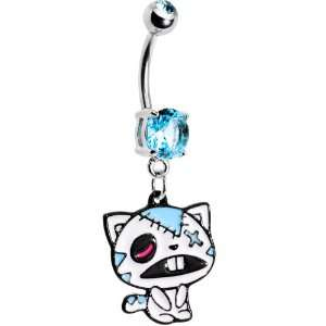 Light Blue Gem Zombie Cat Belly Ring Jewelry