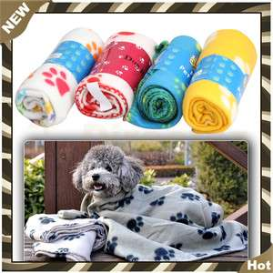 Hot Sell Soft Dog Cat Fleece Pet Paw Prints Blanket Mat Small Size