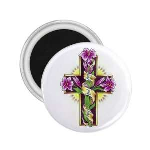 Tattoo Cross Flower Art Fridge Souvenir Magnet 2.25 Free