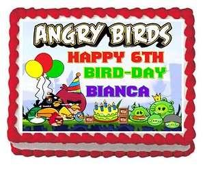 Angry Birds Happy Birthday Edible Frosting Sheet Image Party Cake