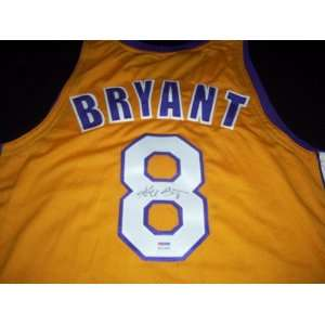 Kobe Bryant Autograph Custom Throwback Los Angeles Gold Lakers Jersey