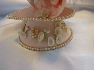 Vintage Satin Wedding Bell Cake Topper W/Tulle & Pearls