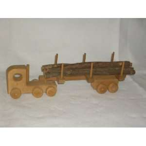 Archie Buckhalt Toy Wooden Semi truck and Trailer with Log