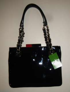 NEW AUTHENTIC KATE SPADE BLACK PATENT LEATHER HANDBAG $395