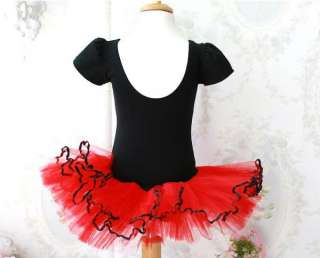 NWT Girls Xmas Red black Ballet Dance Leotard Party Tutu Dress