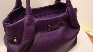 KATE SPADE Berkshire Rd Purple Eggplant Cowhide Leather Stevie Handbag