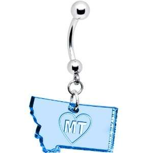 Light Blue State of Montana Belly Ring Jewelry
