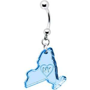 Light Blue State of New York Belly Ring Jewelry