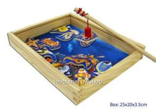 Magnetic Fishing Game Wooden Box Kids Childrens 11 Fish + Rod