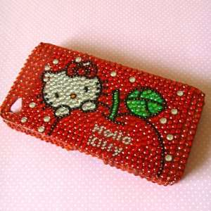 Hello Kitty Iphone 4 Rhinestone Bling Case with Hk Red Crystal with