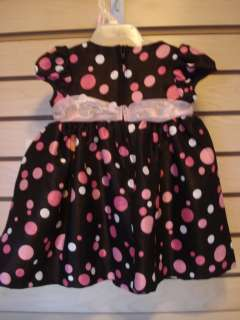 NEW NWT BONNIE BABY JEANS POLKA DOT DRESS 3 6 MONTHS BLACK PINK WHITE