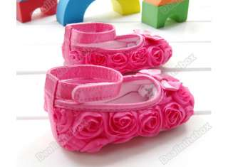 Infant Baby Shoes Girls Toddler dress soft sole Rose flower S81