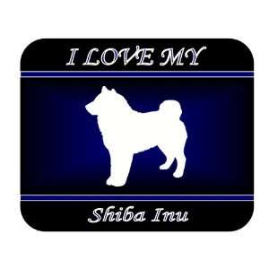 I Love My Shiba Inu Dog Mouse Pad   Blue Design