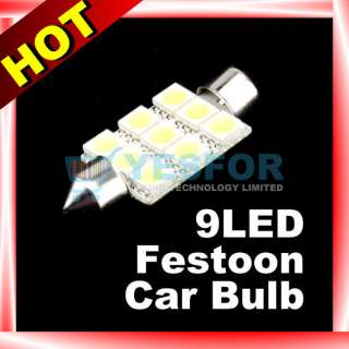 White 39mm 9 SMD LED Festoon Dome Car Bulb Light Lamp
