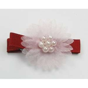 Pearl Flower   Baby Girl & Toddler Hair Clip   Pink & Red Baby