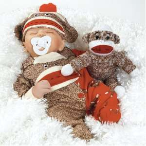 Sock Monkey Business, 16 inch Realistic Baby Doll (Artist