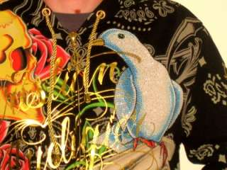 New With Tags Christian Audigier Bird of Faith Men Hoodie W