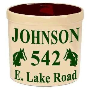 Custom Address Crock 3 lines Text Horse Head Design