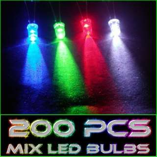 200 Pieces Mixed Colors 5mm Round LED Light Bulbs New