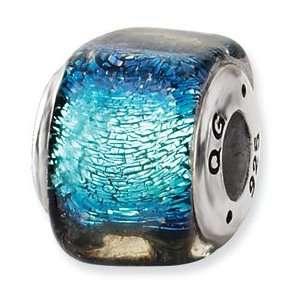 Sterling Silver Blue Dichroic Glass Square Bead Jewelry