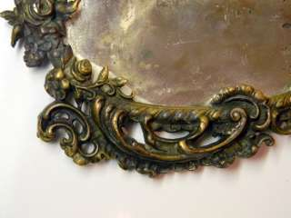 ANTIQUE HAND MIRROR MARKED Tiffany & Co, 13, ART NOVEAU GILT BRONZE