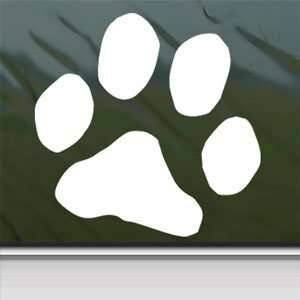 Dog Paw Print White Sticker Car Laptop Vinyl Window White