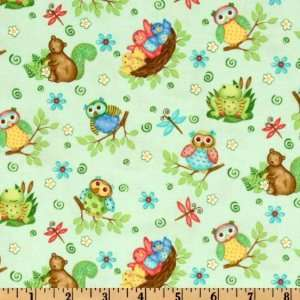 44 Wide Woodland Friends Baby Animals Aqua Fabric By The