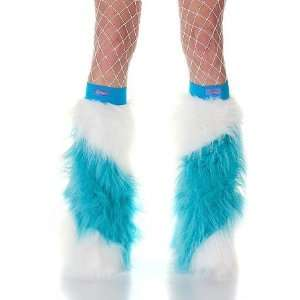 Blue & White Slash Striped Faux Fur Fuzzy Furry Legwarmers Boot Covers