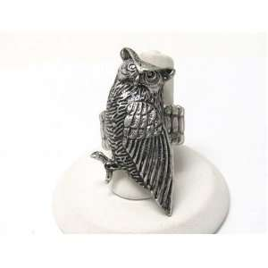 Unique Large Etched Owl Ring on Adjustable Stretch Band Antique Silver