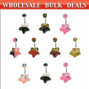 10 Pc. Wholesale Star Belly Rings Jewelry