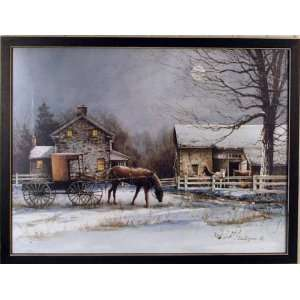 Winter Night Farm Barn Horse Carriage Framed Print