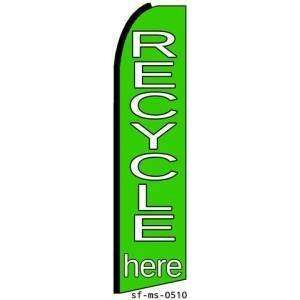 Recycle Here Extra Wide Swooper Feather Business Flag