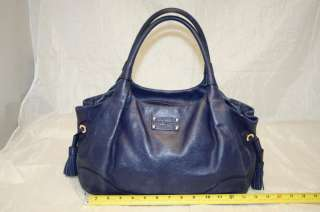 KATE SPADE NEW YORK LEATHER NAVY BLUE TASSEL LARGE ZIP TOTE BAG